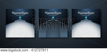 Ramadan Kareem Background For Social Media Post Template With Exclusive Luxury Design. Editable Copy