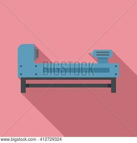 Grinding Lathe Icon. Flat Illustration Of Grinding Lathe Vector Icon For Web Design