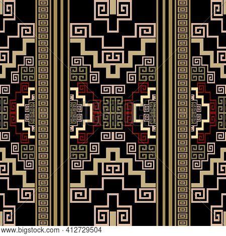Borders Seamless Pattern. Geometric Ornamental Colorful Vector Background. Repeat Decorative Ornate