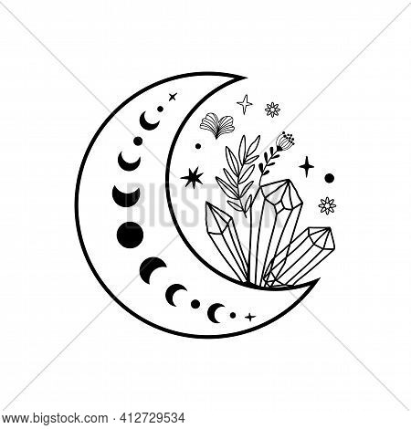 Crystal Moon Phase Crystal Flowers Tattoo. Magic Celestial Coloring Page. Mystical Moon Phase Graphi