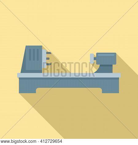 Steel Lathe Icon. Flat Illustration Of Steel Lathe Vector Icon For Web Design
