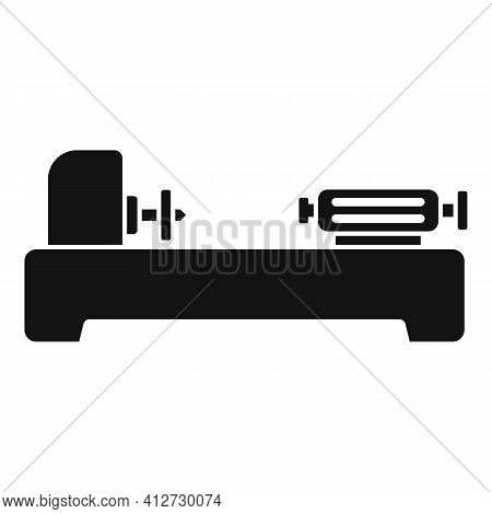 Factory Lathe Icon. Simple Illustration Of Factory Lathe Vector Icon For Web Design Isolated On Whit