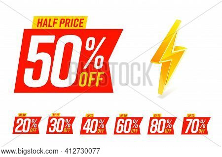 Half Price Label 50 Percent And Other Clearance Value Sale. 20, 30, 40, 60, 80, 70 Percentage Sell-o