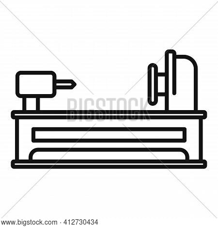 Electric Lathe Icon. Outline Electric Lathe Vector Icon For Web Design Isolated On White Background