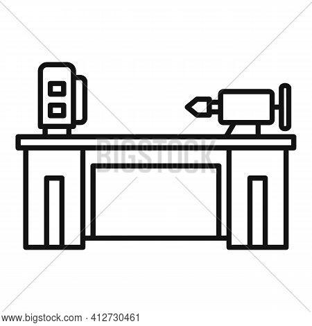 Lathe Machine Icon. Outline Lathe Machine Vector Icon For Web Design Isolated On White Background