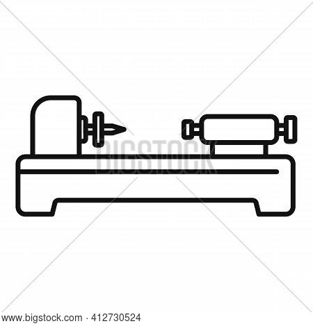 Factory Lathe Icon. Outline Factory Lathe Vector Icon For Web Design Isolated On White Background