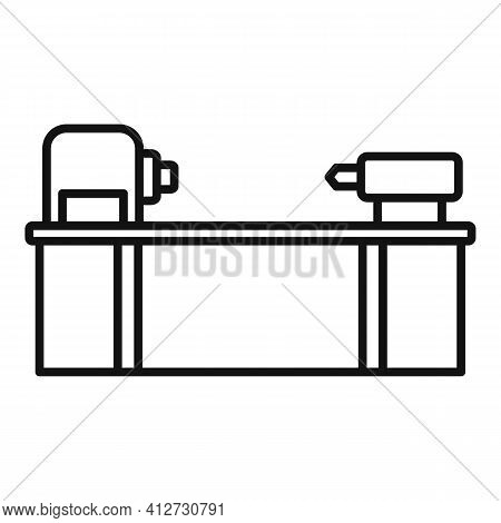 Cutter Lathe Icon. Outline Cutter Lathe Vector Icon For Web Design Isolated On White Background
