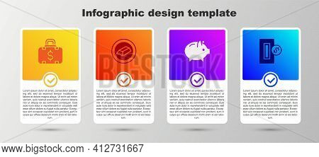 Set Briefcase And Money, Gold Bars, Piggy Bank And Inserting Coin. Business Infographic Template. Ve