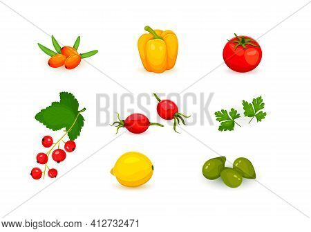 Sources Of Vitamin C, Plant Sources Of Vitamin Collection Of Vitamin C Sources. Fruits And Vegetable