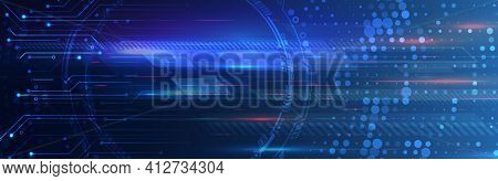 Abstract Circuit Board Vector Illustration. Vector Electronic Communication. Futuristic Web Banner.
