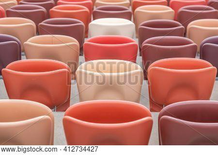 Empty Seats On The Tribune Of A Soccer Stadium