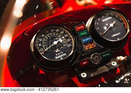 St.petersburg, Russia - April 9, 2016: Ducati Sport Bike Dashboard With Analog Speedometer, Tachomet