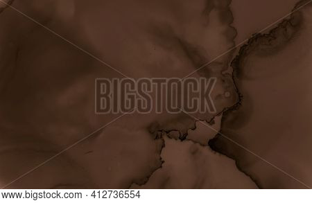Liquid Chocolate Texture. Brown Coffee Background. Black Pastry Pattern. Watercolor Wave Poster. Pai