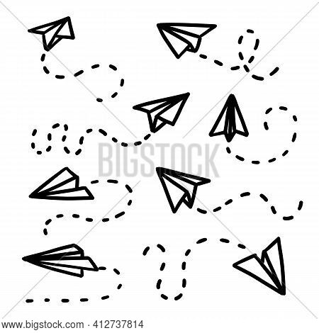 Paper Aeroplane Doodle. Simple Paper Planes. Vector Ship Trace. Hand Drawn Illustration