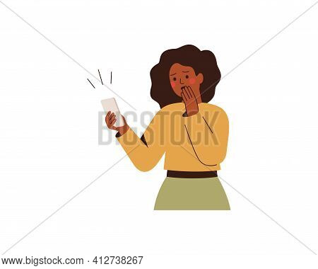 Shocked Black Woman Looks At Mobile Phone With Fear And Anxiety. African American Girl Looks At Her