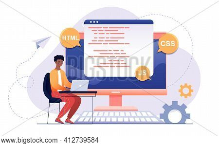 Script Coding And Programming In Php, Python, Javascript, Other Languages Concept. Software Develope
