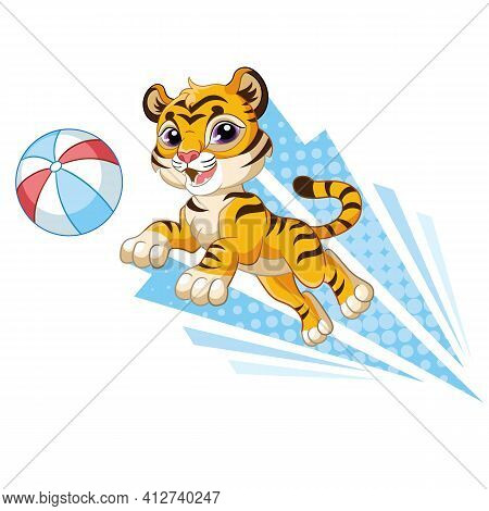 Cute Jumping Dynamic Tiger Cartoon Character Vector