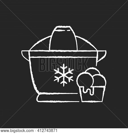 Ice Cream Maker Chalk White Icon On Black Background. Electrical Utensil For Home Treat Preparation.