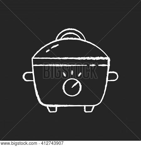 Slow Cooker Chalk White Icon On Black Background. Porcelain Crock Pot. Pot For Cooking Meal. Small K