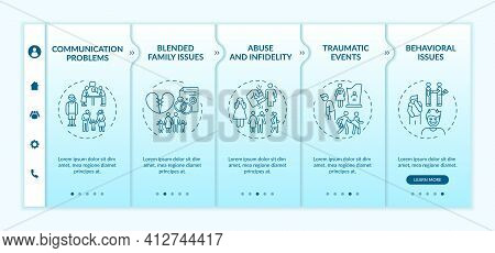 Online Family Therapy Types Onboarding Vector Template. Abuse And Infidelity. Traumatic Events. Resp