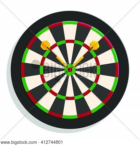 Color Darts Board Target With Dart Arrows In Cartoon Style. Equipment For Sports Competitions. Vecto