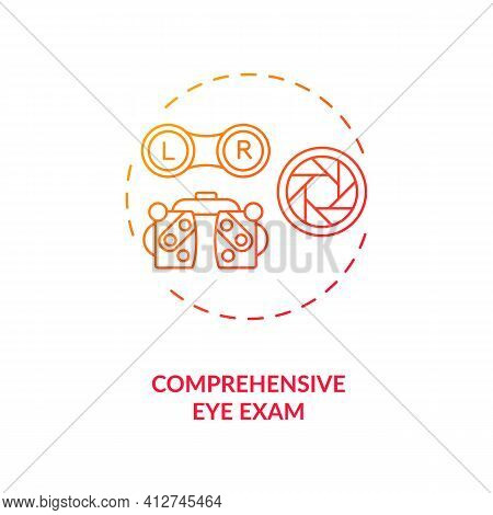 Comprehensive Eye Exam Concept Icon. Eye Health Tips. Getting Measurements How Clearly Each Eye Is S