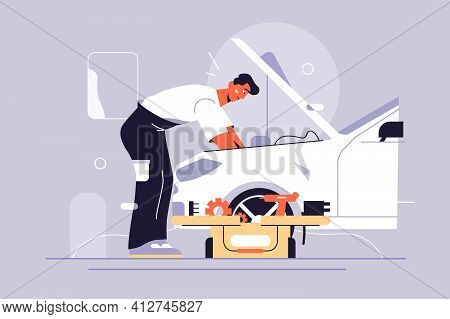 Man Fixing Car By Himself Vector Illustration. Repairing Automobile With Tools Flat Style. Car Servi