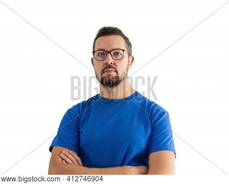 Adult Man Portrait In Glasses And Blue T Shirt. Young Male Caucasian Person Isolated On White Backgr