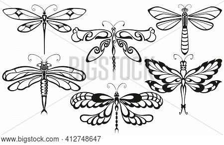 Black Silhouette Dragonfly Collection. Dragonfly Silhouette Icons