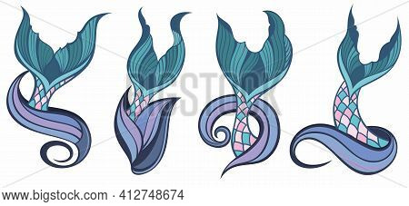 Silhouette Of Mermaid's Tails.fish Tails For Your Design