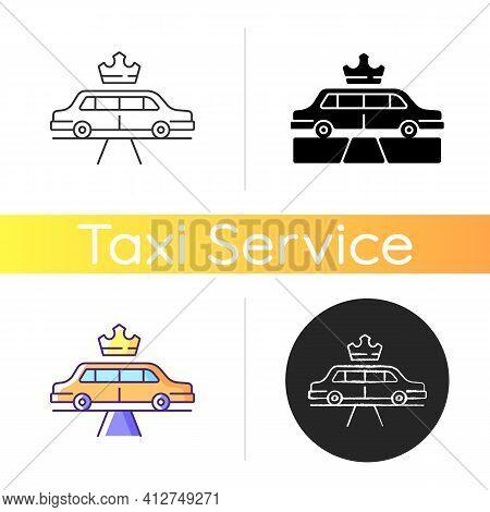 Limousine Service Icon. Transportation Service. Premier Car Using. Luxury Car Rental. Transportation