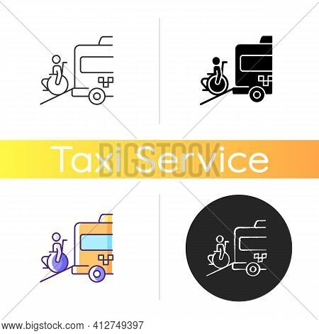Wheelchair Van Icon. Accessible Van. Increased Mobility Of People With Disability. Social Transport.