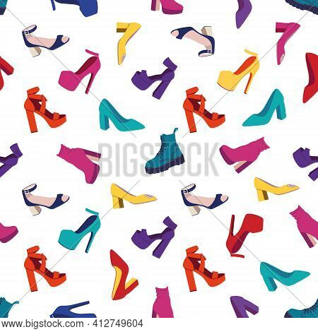 Seamless Pattern With Womens Shoes.fashion High-heeled Shoes, Boots, Sandals. Flat Vector Illustrati