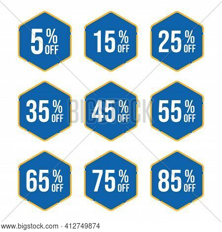 Set Of Sale Tag Vector Badge Template, 5%, 15%, 25%, 35%, 45%, 55%, 65%, 75% And 85% Sale Label Coll