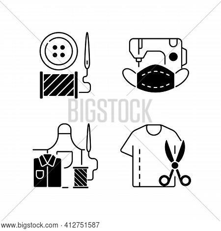 Clothing Alteration Black Linear Icons Set. Button Replacement. Mask Sewing. Work Wear Fix. Resizing