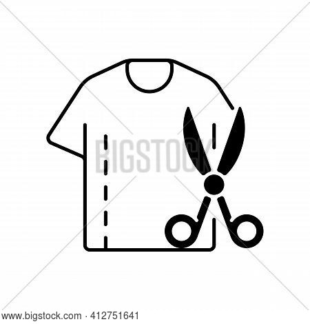 Resizing Clothes Black Linear Icon. Garment Restoration. Damaged Shirt. Fix Outfit With Scissors. Cl