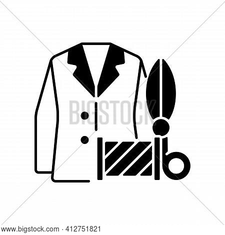 Custom Suits And Shirts Black Linear Icon. Professional Tailor Studio. Jacket, Scissors, Spool. Clot