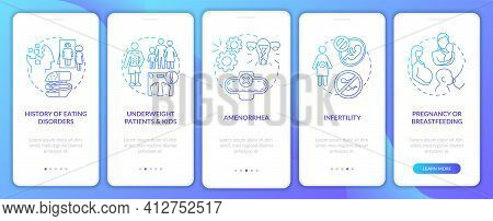 Intermittent Fasting Precaution Blue Onboarding Mobile App Page Screen With Concepts. Diet And Healt