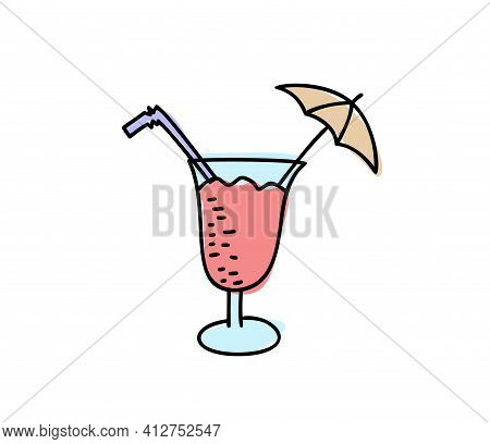 Glass With Drinking Straw And Umbrella Summer Vector Sketch Icon Isolated On Background. Hand Drawn