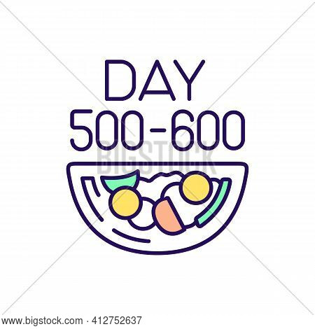 Dieting Plan Rgb Color Icon. Day 500-600 Period. Intermittent Fasting Schedule. Eat Vegetables For M