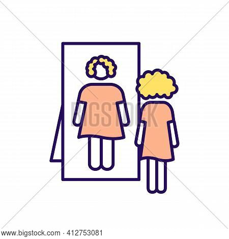 Eating Disorder Rgb Color Icon. Woman With Anorexia. Girl Looking In Mirror Reflection. Mental Healt