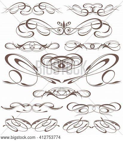 Ornate Frame Elements. Vintage And Filigree Decoration Scroll Swirls Element.