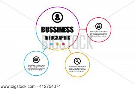 Presentation Business Infographic Design Template With Circle 3 Options. Vector Design Concept Label