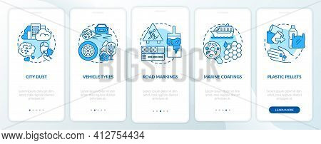 Microplastics Sources Onboarding Mobile App Page Screen With Concepts. Vehicle Tyres Walkthrough 5 S