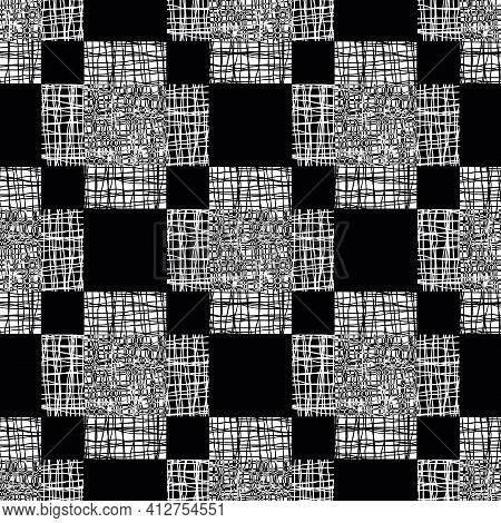 Irregular Vector Gauze Weave Effect Cross Seamless Pattern Background. Backdrop Of Monochrome Coarse