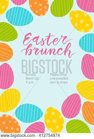 Easter Brunch Invitation. Cute Colorful Egg Frame And Hand Written Lettering.