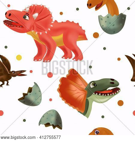 Cute Dinosaur Pattern On White Background. Dinosaur Print For Your Design Textile, Wallpapers, Fabri