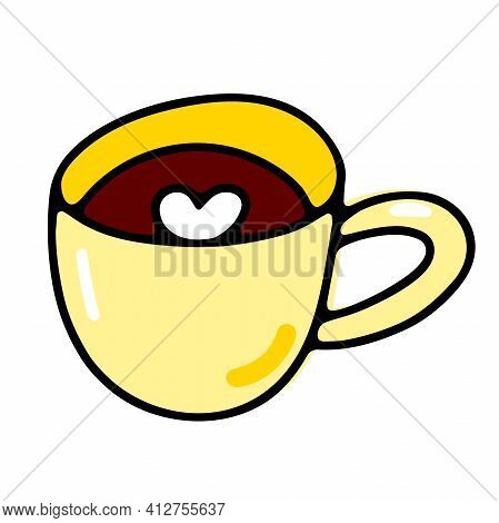 Doodle Coffee Cup. Cute Hot Beverage Isolated On White Background. Yellow Tea, Latte, Cappuccino, Am