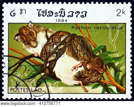 Laos - Circa 1984: A Stamp Printed In Laos Shows Reticulated Python, Python Reticulatus, Is A Specie