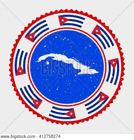 Cuba Grunge Stamp. Round Logo With Map And Flag Of Cuba. Country Stamp. Vector Illustration.